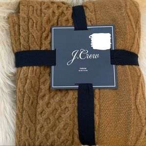 J. Crew Cable Knit Blanket Throw Brown Tan